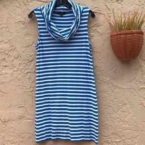 Blue & White Express Wide Mock Neck Dress